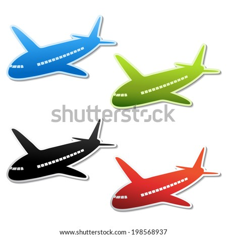 airplane stickers, shipping button, symbol