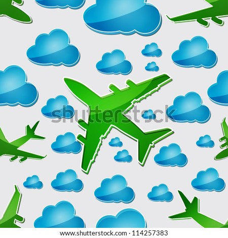 Airplanes in the air with blue clouds Seamless vector pattern