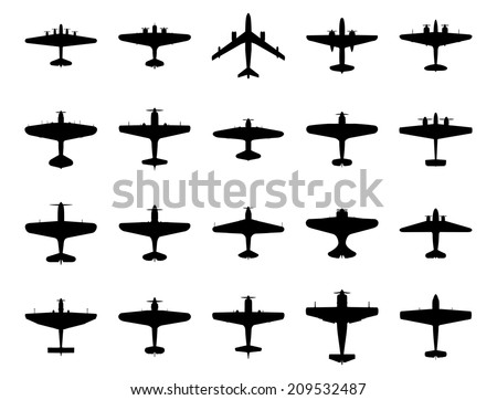 Airplanes silhouette set. Isolated on white background.