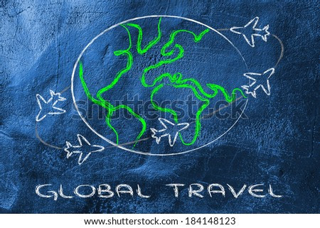 airplanes with trails flying around the world: global travel industry
