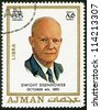AJMAN - CIRCA 1970: A stamp printed in Ajman shows Dwight David Eisenhower (1890-1969), circa 1970 - stock photo