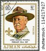 AJMAN - CIRCA 1970: A stamp printed in Ajman shows Robert Baden-Powell (1857-1941), circa 1970 - stock photo