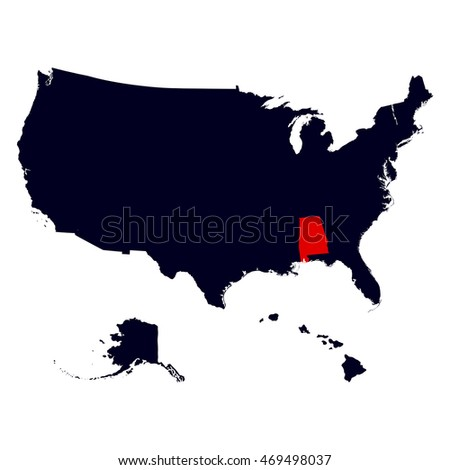 Map Us State Alabama Stock Vector 270729542 Shutterstock