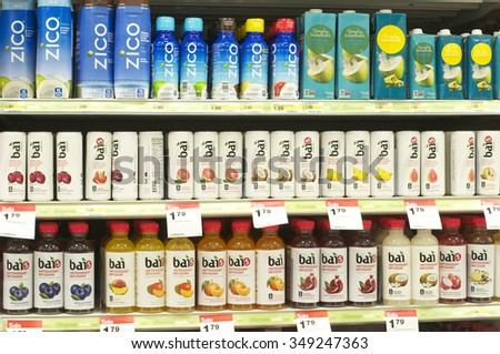 ALAMEDA, CA - DECEMBER 04, 2015: Bottles of flavored water on shelf in supermarket. the flavored water market  expected to grow as people look for healthier alternatives to soda.