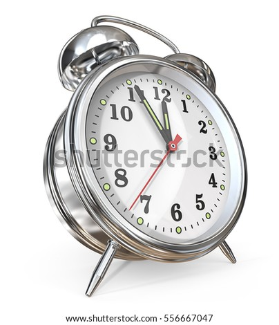 Alarm Clock. 3D render of a classic Metal Alarm Clock. Hands pointing at five to twelve,