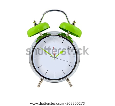 Alarm clock on the white background