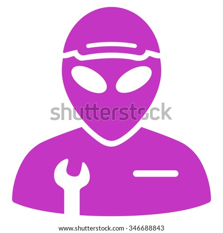 Alien Serviceman raster icon. Style is flat violet symbol, rounded angles, white background.