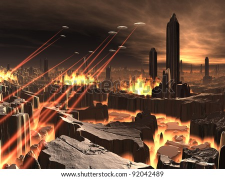 Alien UFO Invasion of Futuristic City