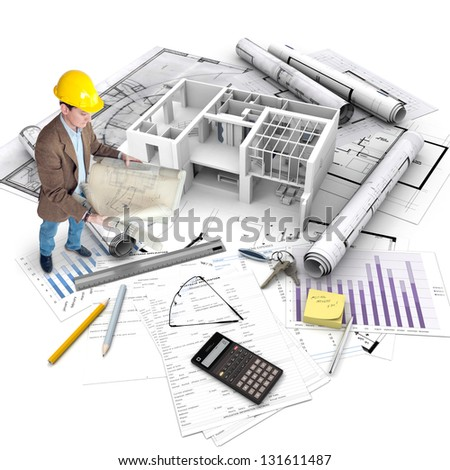 All elements of a property purchase, an architect with blueprints, a building under construction, a mortgage application..