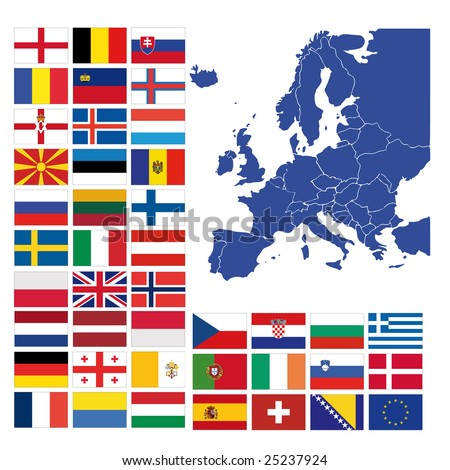 all european flags and map of europe