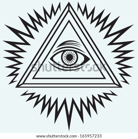 All seeing eye isolated on blue background. Raster version