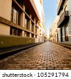 Alley in the old city of San Juan, Puerto Rico. - stock photo