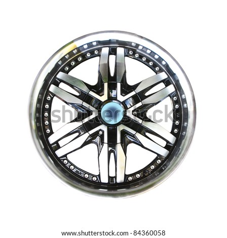 Alloy wheel with clipping path isolated on white background