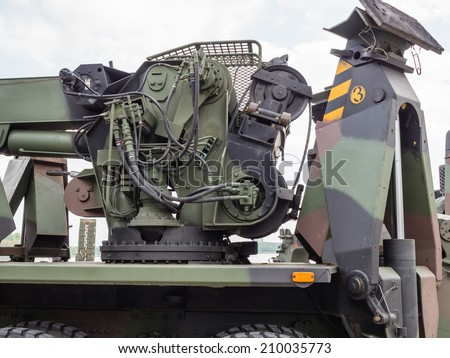 ALMERE, NETHERLANDS - 23 APRIL 2014: Part of a Dutch military tow truck on display during the National Army Day in Almere which can be inspected by the general public at close range