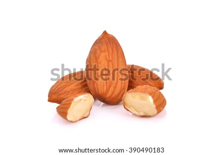 Almond isolated on white background .