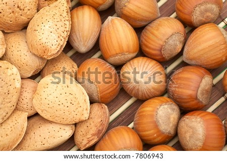almonds and hazelnuts as background