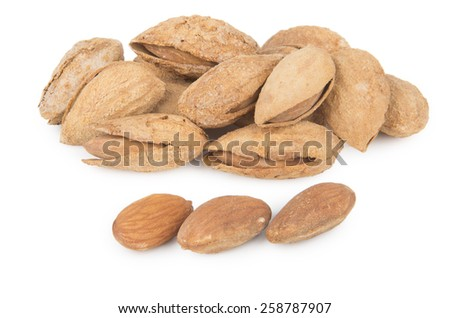 Almonds in shell and without isolated on white background