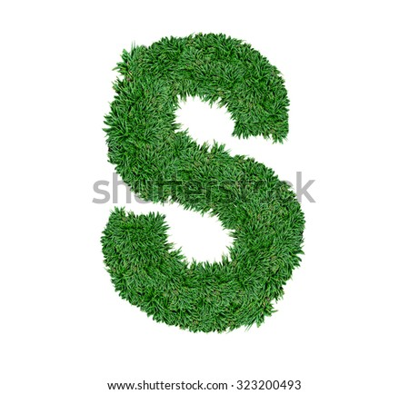 Alphabet made of green grass isolated on white.