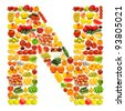 Alphabet made of many fruits and vegetables - stock photo