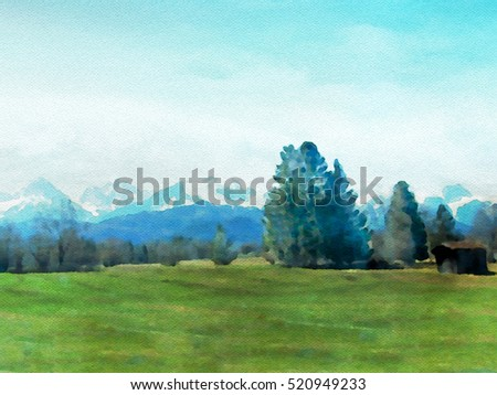 Alpina landscape in watercolor