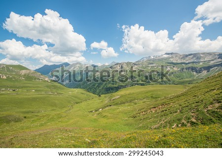 Alpine meadows, high mountain roads and beautiful landscape of the Grossglockner mountain in Austria