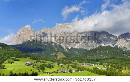 Alpine resort ,Cortina D Ampezzo ,Dolomites Mountains ,Italy.