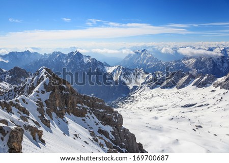 Alps mountain range view from Zugspitze top of Germany