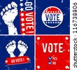 alternative vote banner with footprint background - stock photo
