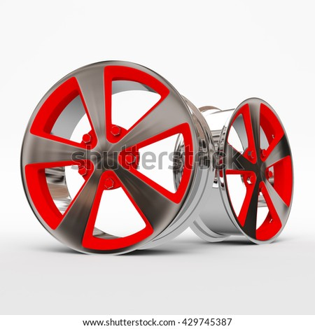 Aluminum Alloy rims, Car rims. 3D rendering.