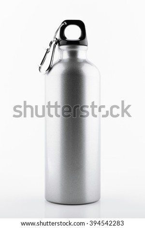 Aluminum bottle water isolated white background