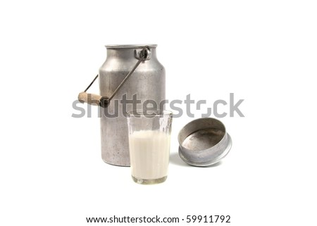 aluminum can and glass of milk