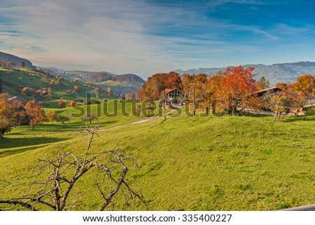 Amazing autumn panorama in Switzerland apls near town of Interlaken, Canton of Bern