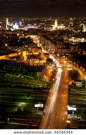 Amazing night city view, Moscow, Russia