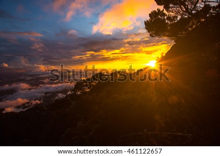 Amazing sunset views from the highest mountain in Borneo