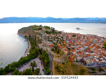 "amazing view from the old fortress ""bourtzi"" of Nafplio town in Greece"