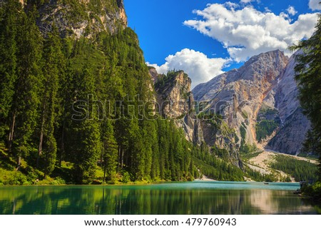 Amazing view of Braies Lake (Lago Di Braies, Pragser Wildsee) in Northern Italy.