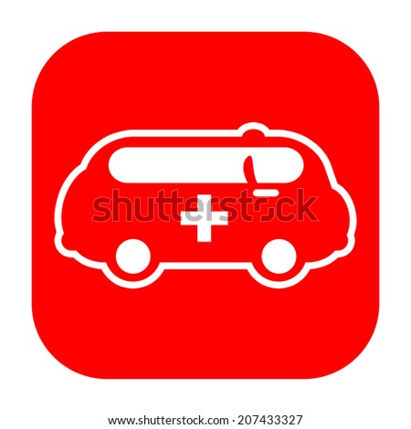 Ambulance van icon with medical cross
