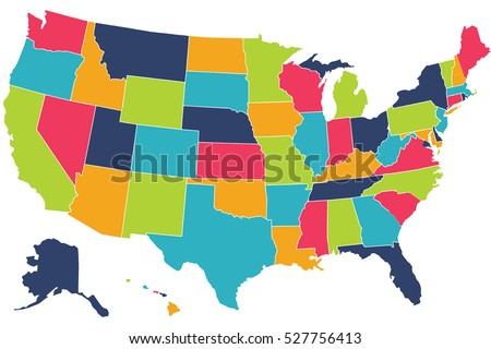 America Flag Usa Map The United States Stock Illustration - Usa maps with states