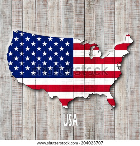 America Map Usa Text And Wood Background