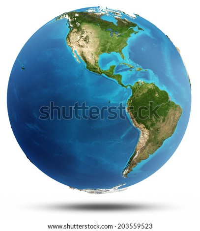 America real relief and water. Elements of this image furnished by NASA