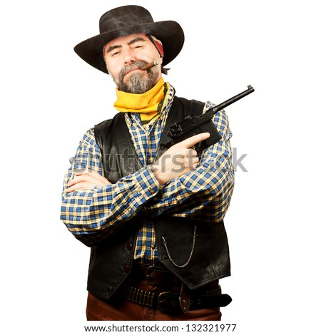 american cowboy, smoking cigar on white background