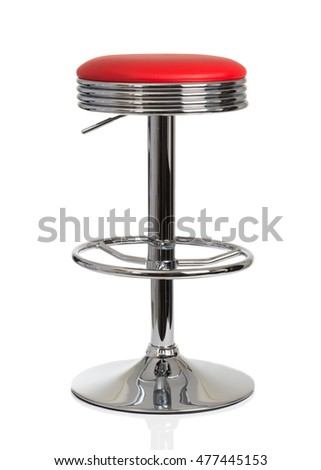 American diner red vintage stool isolated on a white background