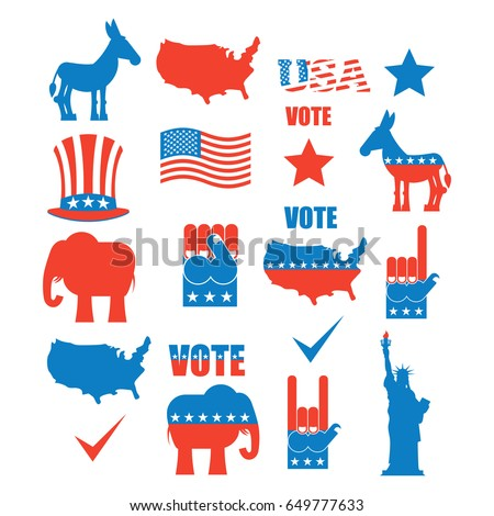 American Elections Icon Set Republican Elephant And Democratic Donkey Symbols Of Political Parties In