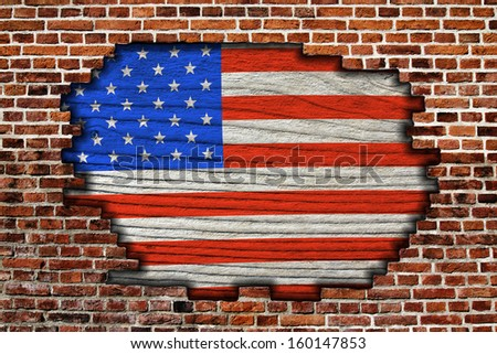 American flag on old brick wall Texture or background