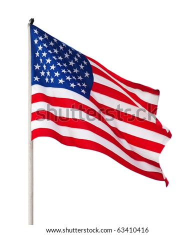 American flag over white background.