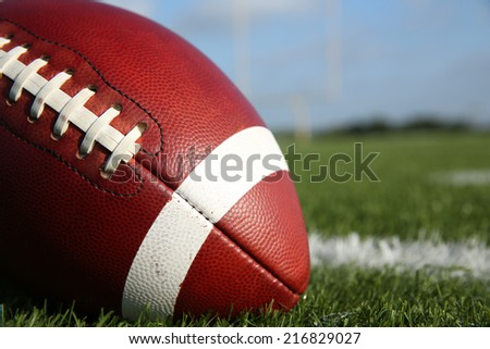 American Football on the Field Close Up