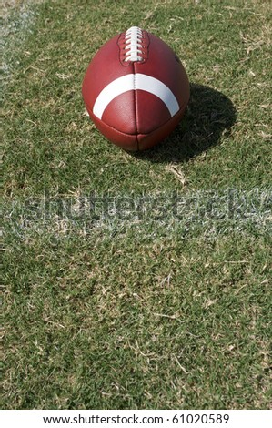 American Football on the Grass Field near a yard line
