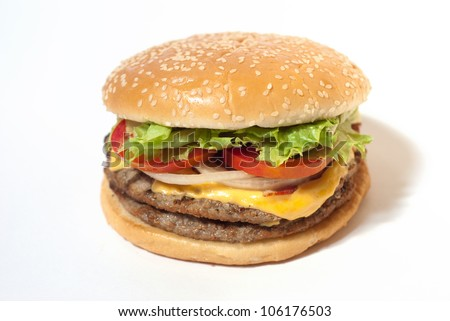 American Hamburger cheeseburger fast food on white isolation background