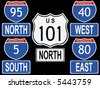 American Interstate and Highway signs illustration including highway 101 and interstate 95 JPG - stock vector