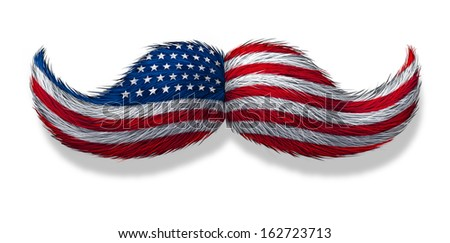 American man icon as a mustache symbol with the flag of the United ...